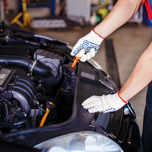 Oil Change Service on toyota car